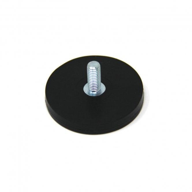 43mm dia x 6mm thick Rubber Coated POS Magnet c/w M4 x 15mm External Thread