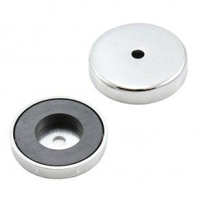 50mm dia x 10mm thick x 8.5mm hole Ferrite Pot Magnet  - 15.8kg Pull