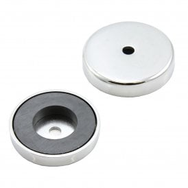50mm dia x 10mm thick x 8.5mm hole Ferrite Pot Magnet  - 15.8kg Pull