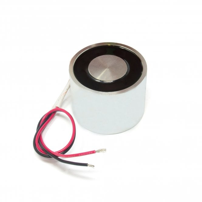 50mm dia x 30mm thick Energise to Release Electromagnet with M6 Mounting Hole - 40kg Pull (24V DC / 100W)