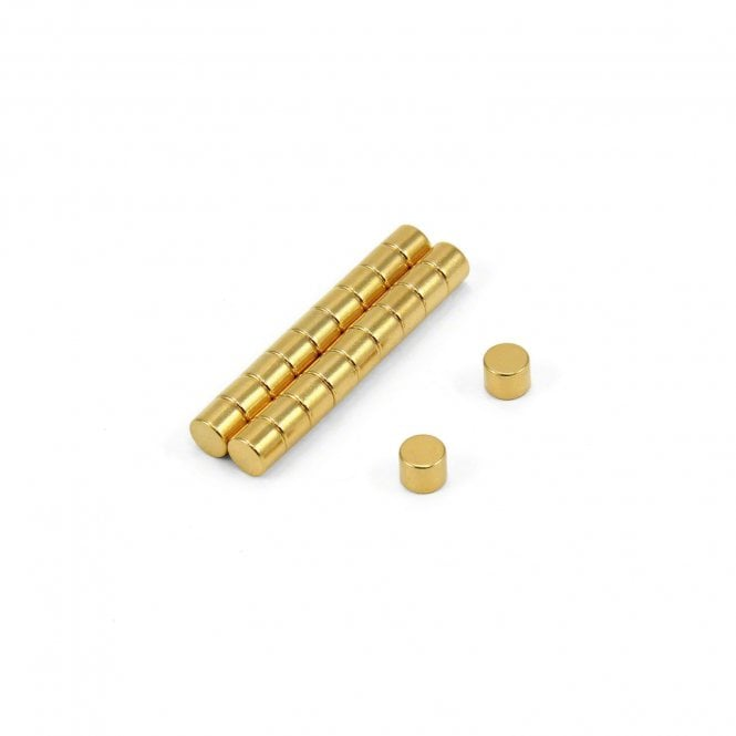 5mm dia x 4mm thick N35 Neodymium Magnet - 0.66kg Pull (Gold Plated)