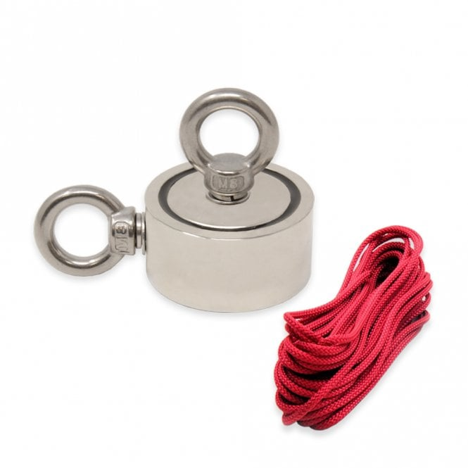 60mm dia x 30mm N42 Neodymium Pot Magnet with 2x M8 Eyebolts + 10 metre Rope - 120kg Pull