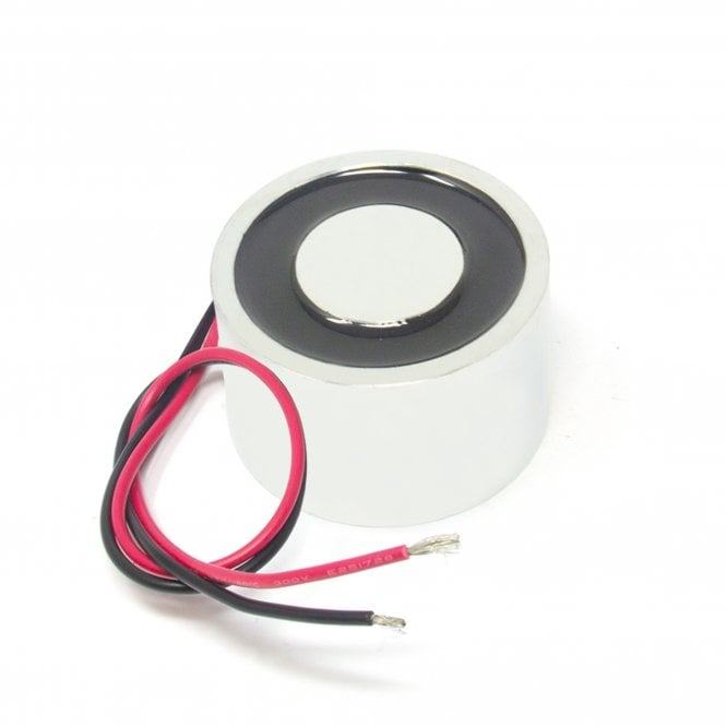 60mm dia x 45mm thick Energise to Release Electromagnet with M5 Mounting Holes - 60kg Pull (24V DC / 36W)