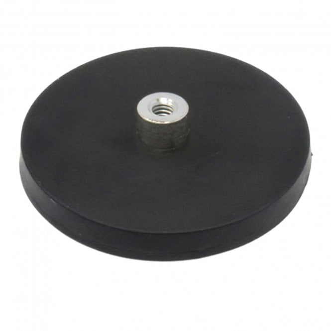 66mm dia x 8mm high Rubber Coated POS Magnet c/w M6 Boss Thread - 22kg Pull
