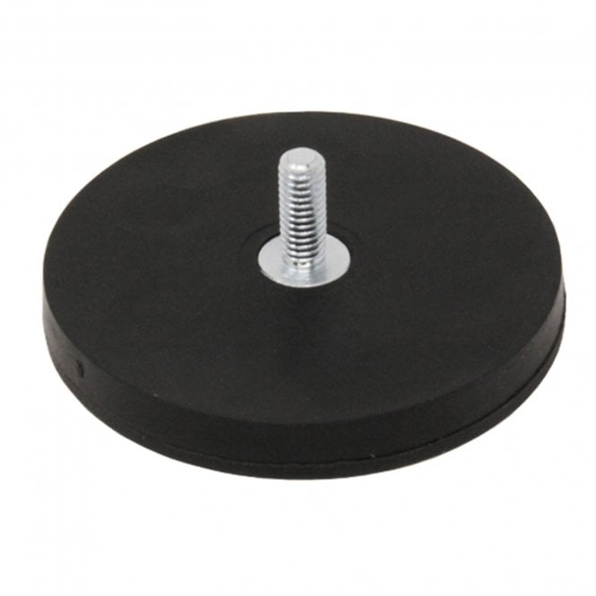 66mm dia x 8mm thick Rubber Coated POS Magnet c/w M6 x 15mm External Thread
