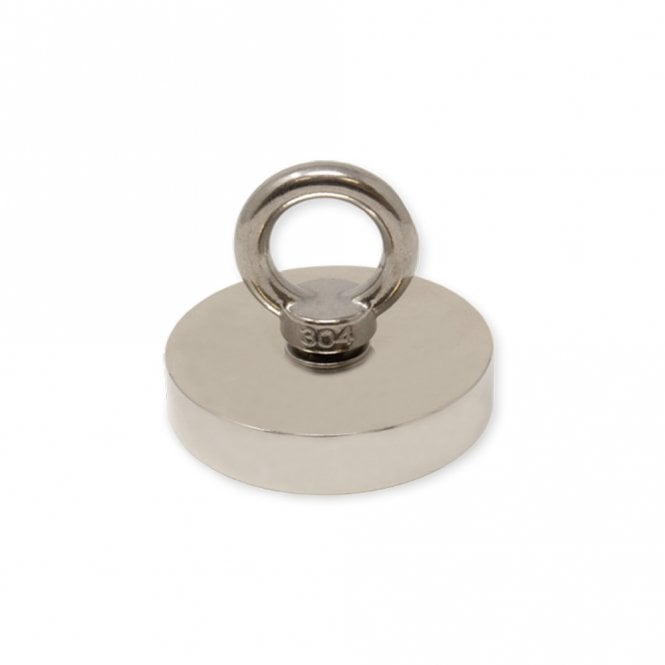 75mm dia x 15mm N42 Neodymium Pot Magnet with M10 Eyebolt - 200kg Pull