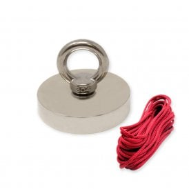 75mm dia x 15mm thick N42 Neodymium Pot Magnet with M10 Eyebolt + 10 metre Rope - 200kg Pull