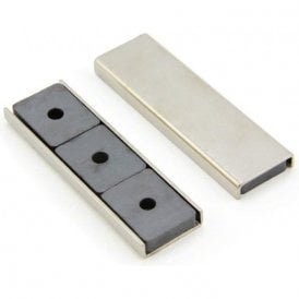 76 x 23 x 6.3mm thick Ferrite Channel Magnet - 10kg Pull