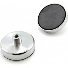 80mm dia x 32mm tall x M10 thread Ferrite Pot Magnet - 60kg Pull (Pack of 1)