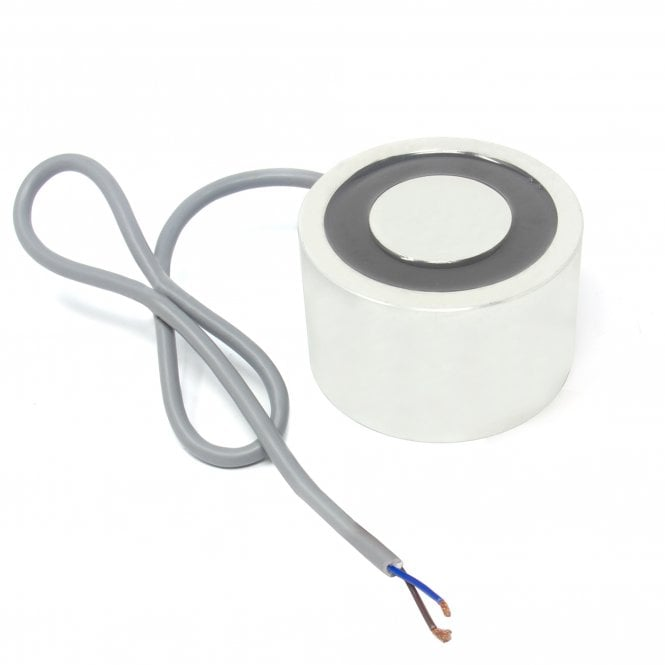 80mm dia x 50mm thick Energise to Release Electromagnet with M8 Mounting Holes - 80kg Pull (24V DC / 40W)