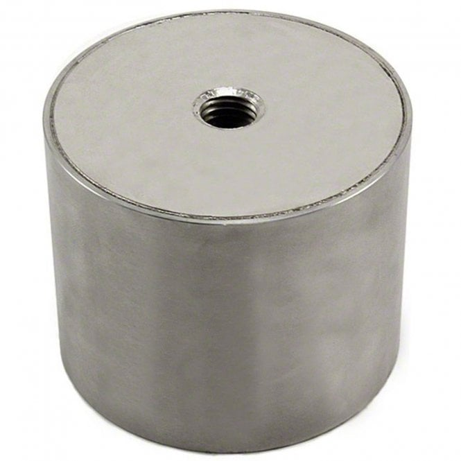 80mm dia x 65mm thick Stainless Steel Encased N42 Neodymium Magnet - 155kg Pull