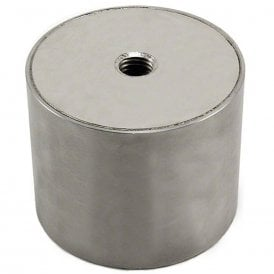 80mm dia x 65mm thick Stainless Steel Encased N42 Neodymium Magnet - 155kg Pull (Pack of 1)