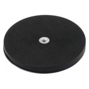 88mm dia x 8mm high Black Boutique Magnet c/w M6 Boss Thread (Flush x 8mm deep) - 42kg Pull
