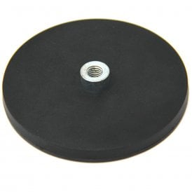 88mm dia x 8mm high Black Rubber Coated POS Magnet c/w M8 Boss Thread