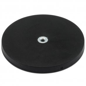 88mm dia x 8mm high Rubber Coated POS Magnet c/w M6 Boss Thread (Flush x 6mm deep) - 42kg Pull