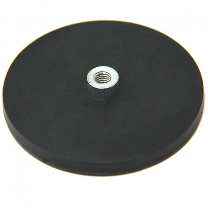 88mm dia x 8mm high Rubber Coated POS Magnet c/w M8 Boss Thread - 45kg Pull