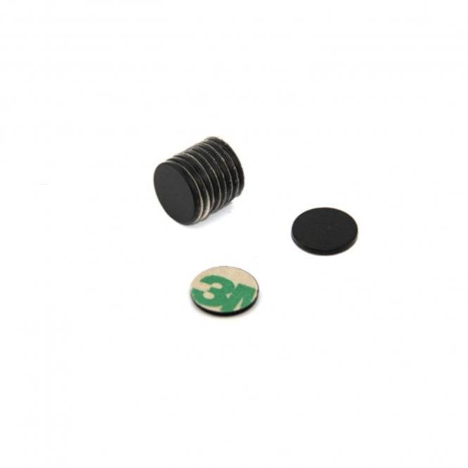 Adhesive 10mm dia x 1mm N42 Black Epoxy Magnets - 0.58kg Pull