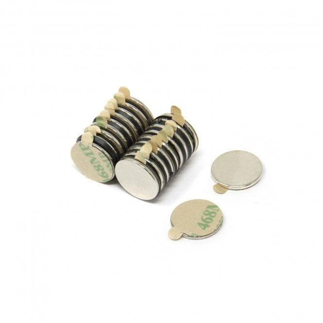 Adhesive 12mm dia x 1mm thick N42 Neodymium Magnet - 0.73kg Pull