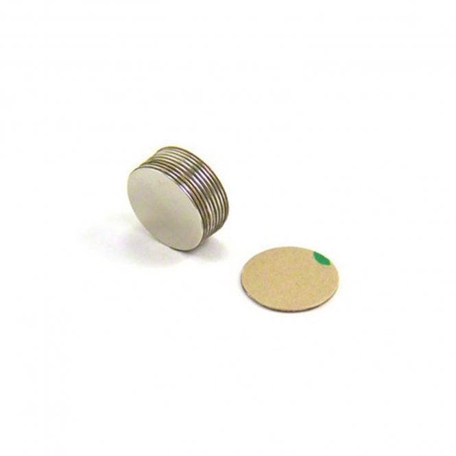 Adhesive 15mm dia x 0.5mm thick N42 Neodymium Magnet - 0.28kg Pull