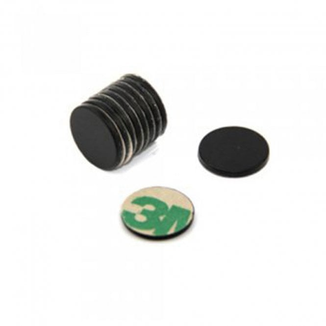 Adhesive 15mm dia x 1mm N42 Black Epoxy Magnets - 1.1kg Pull