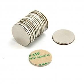Adhesive 20mm dia x 1.5mm N42 Neodymium Magnet - 2kg Pull