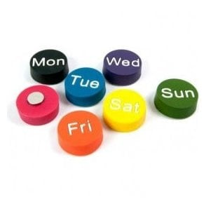 Assorted Circular Office Magnets - Weekdays