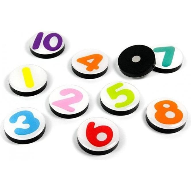 Assorted Domed Circular Office Magnets - Numerical 1-10