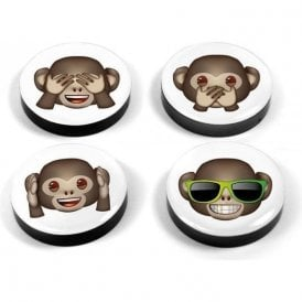 Assorted Popular Shape Office Magnets - Emoji Monkeys (1 set of 4)