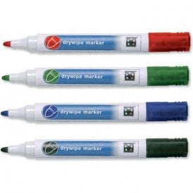 Four Assorted Dry Wipe Whiteboard Marker Pen Pack - 3mm Bullet Tip - Home & Office (10 Packs)