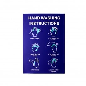 Hand Washing Instructions Magnetic Sign - Blue