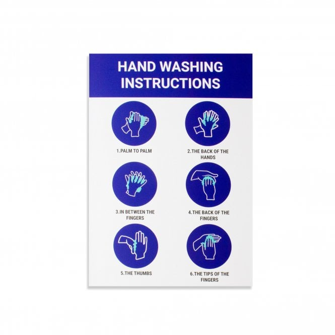 Hand Washing Instructions Magnetic Sign - White (Pack of 1)