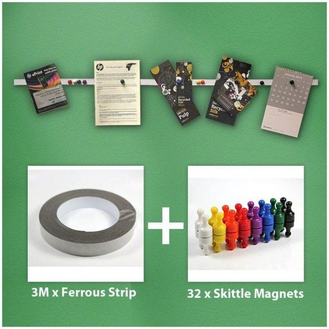 Instant Notice Board Strip Pack - 3m x Ferrous Strip with 32 Skittle Magnets
