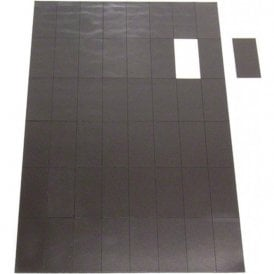 MagFlex® 50mm x 24mm Self Adhesive Flexible Magnetic Rectangles - 48 per A4 Sheet (1 Sheet)