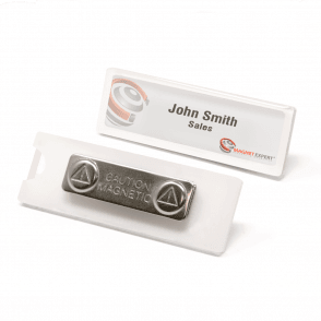 Magnetic Name Badge with Card Insert Window (75mm x 23mm)