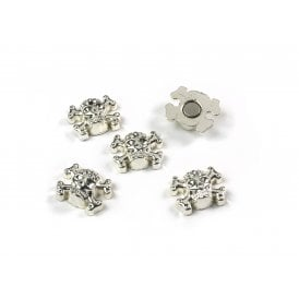Magnets SKULL, Set of 5, Silver