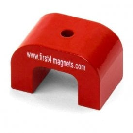 Medium Red Alnico Horseshoe Magnet - 9kg Pull (40 x 25 x 25mm 4.5mm hole) (Pack of 1)