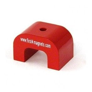 Medium Red Alnico Horseshoe Magnet - 9kg Pull (40 x 25 x 25mm)