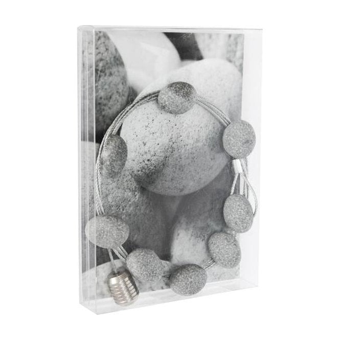 Photo wire STONE - 150 cm, 8 pebble magnets / postcard