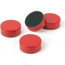 Plain Circular Office Magnets - Red ( 1 set of 4 ) ( 23mm dia x 9mm thick )