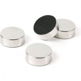 Plain Circular Office Magnets - Silver ( 1 set of 4 ) ( 23mm dia x 9mm thick )