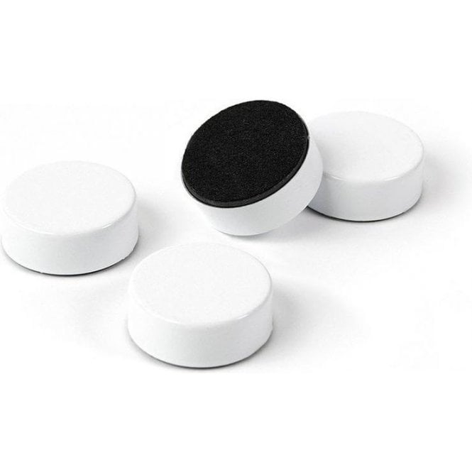 Plain Circular Office Magnets - White (23mm dia x 9mm thick)