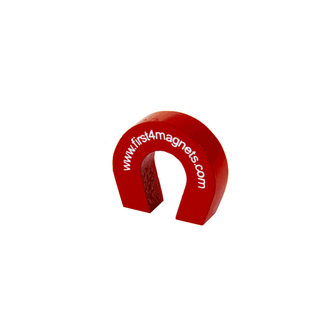 """Pocket Size"" Red Alnico Horseshoe Magnet - 1.5kg Pull (25.4 x 28.5 x 8mm)"
