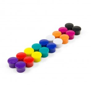 Small Coloured High Power 'Memo' Board Magnets - Office & Fridge (18mm dia x 11mm tall)