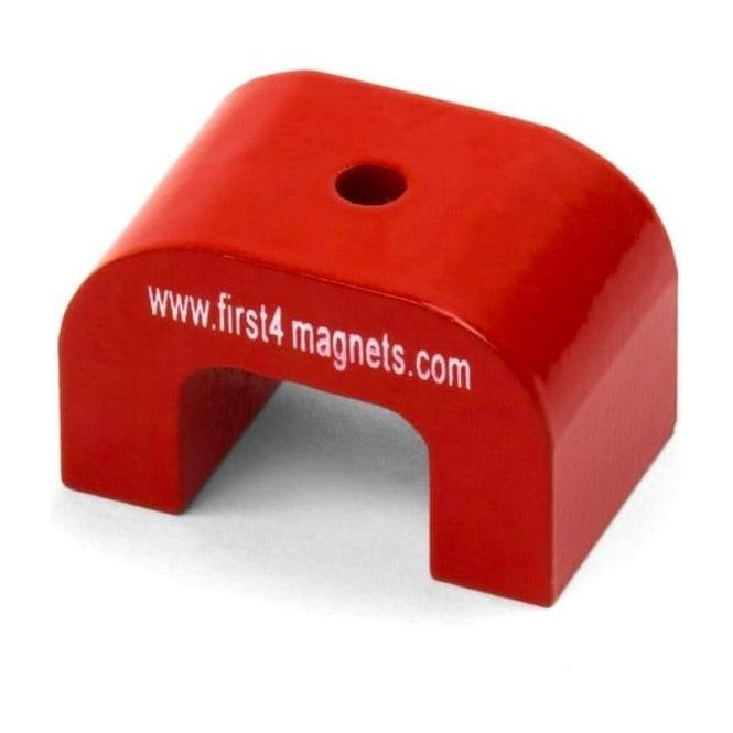 Small Red Alnico Horseshoe Magnet - 4.5kg Pull (30 x 20 x 20mm)