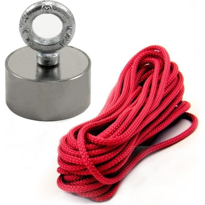 Stainless Steel Neodymium Recovery Magnet with M10 Eyebolt and 10 Metre Rope - 80kg Pull