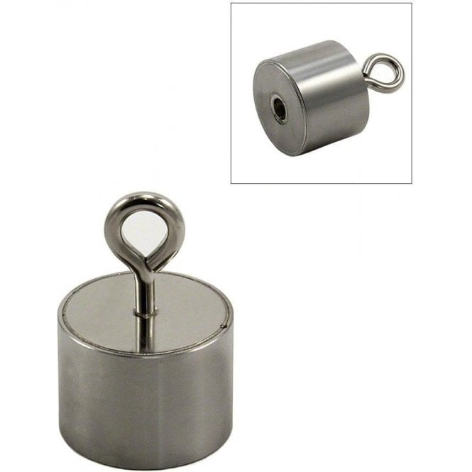 Stainless Steel Neodymium Recovery Magnet with M5 Eyebolt - 24kg Pull