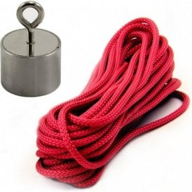 Stainless Steel Neodymium Recovery Magnet with M5 Eyebolt and 10 Metre Rope - 24kg Pull